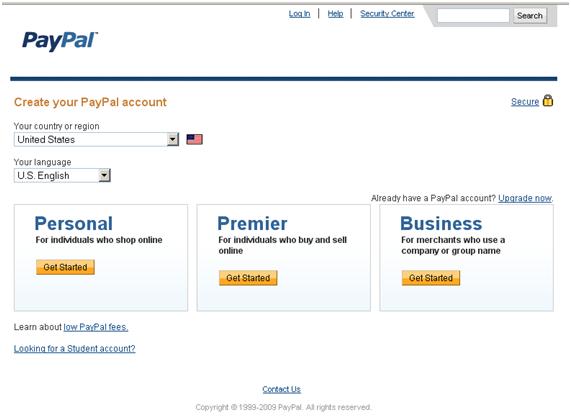 Maak Paypal account aan