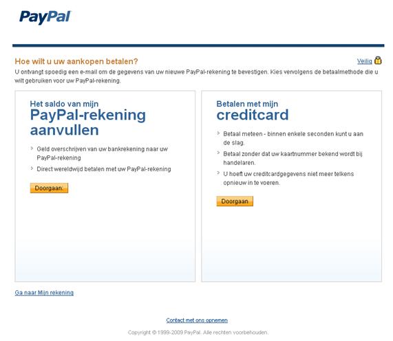 Paypal keuzescherm